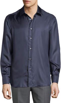 Brioni Men's Long-Sleeve Fitted Silk Shirt, Blue