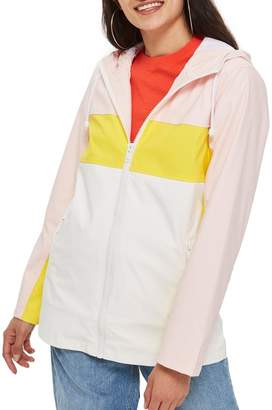 Topshop Mac Hooded Colorblock Rain Jacket