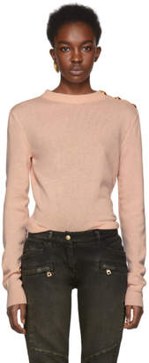 Balmain Pink Three-Button Shoulder Sweater