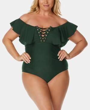 Raisins Curve Trendy Plus Size Juniors' Off-The-Shoulder One-Piece Swimsuit Women's Swimsuit
