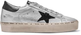 Golden Goose Hi Star Glittered Distressed Metallic Leather Platform Sneakers - Silver