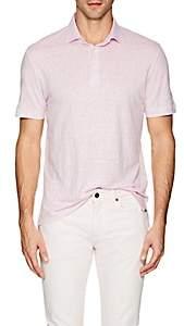 Napoleonerba Men's Slub Linen Polo Shirt - Pink