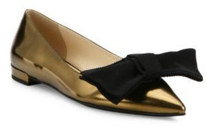 Prada Metallic Leather & Grosgrain Bow Skimmer Flats $620 thestylecure.com