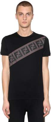 Fendi Ff Striped Cotton Jersey T-Shirt