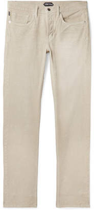 Tom Ford Slim-fit Stretch-cotton Corduroy Trousers - Beige