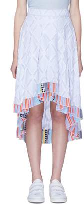 Lemlem 'Besu' diamond fil coupé stripe ruffle high-low skirt