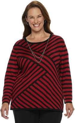 Alfred Dunner Plus Size Studio Diagonal Striped Lurex Sweater