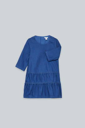 Cos GATHERED-PANEL DENIM DRESS