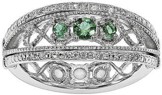 FINE JEWELRY Lab-Created Emerald and White Sapphire Sterling Silver Flip Ring