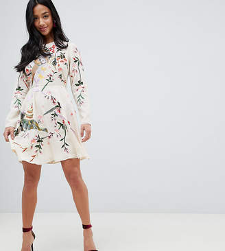 Asos DESIGN Petite Mini Dress With Pretty Floral And Bird Embroidery
