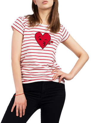 French Connection Striped Heart-Print Cotton Tee