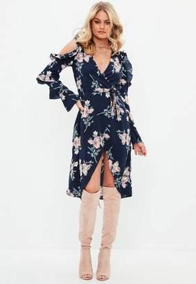 Missguided Navy Cold Shoulder Wrap Floral Midi Dress