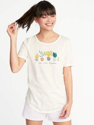 Old Navy Relaxed Curved-Hem Graphic Tee for Women