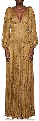 J. Mendel Women's Metallic-Weave Silk Plissé Gown - Sage