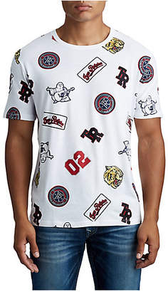 True Religion MENS MONOGRAM VARSITY PATCH GRAPHIC TEE