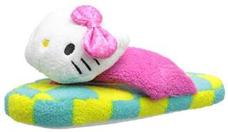 Hello Kitty Women's Plush Checkered Thong Slipper with 3D Head and Sequin Bow