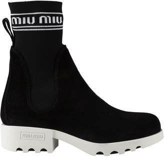 Miu Miu Pull Tab Rear Ankle Boots