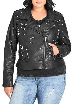 City Chic Plus Studded Faux Leather Jacket