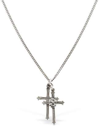 Emanuele Bicocchi Double Cross & Skull Silver Necklace