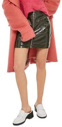 Topshop Zip Through Cracked Vinyl Miniskirt