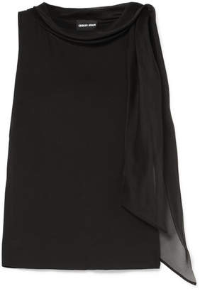 Giorgio Armani Tie-neck Stretch-silk Chiffon Blouse - Black