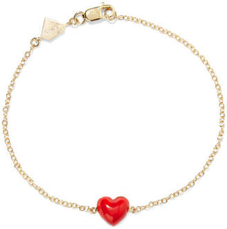 Alison Lou Heart 14-karat Gold And Enamel Bracelet