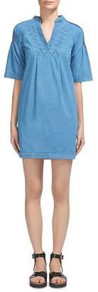 Whistles Denim Pin-Tuck Detail Mini Dress