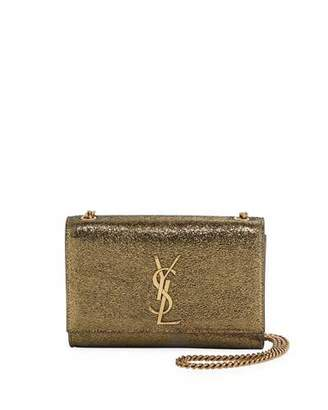 Saint Laurent Kate Monogram Small Metallic Leather Crossbody Bag