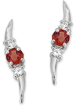 The Ear Pin Garnets and Cubic Zirconias Triple Stone Sterling Earrings