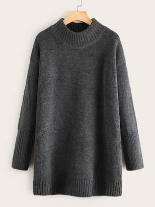 Shein Drop Shoulder Stand Collar Sweater