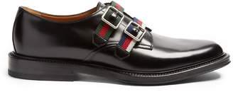 Gucci Beyond Web-striped monk-strap leather shoes