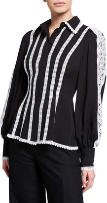 Andrew Gn Long-Sleeve Contrast Lace-Striped Silk Blouse