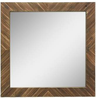 STONEBRIAR COLLECTION Stonebriar Square Textured Wooden Chevron Hanging Wall Mirror with Attached Mounting Brackets