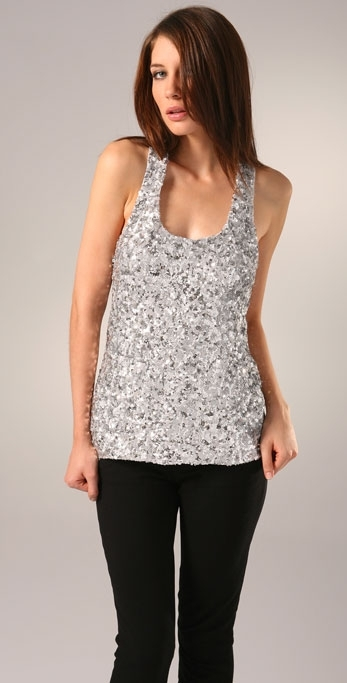 Alice + Olivia Sequined Racer Back Top