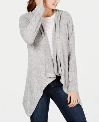 Hooked Up by Iot Juniors' Hooded Open-Front Cardigan