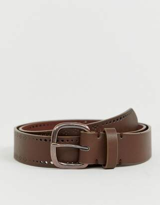 Asos Design DESIGN faux leather wide belt in brown with edge design