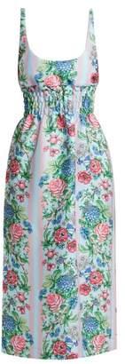 Emilia Wickstead Giovanna Floral Print Shirred Cloque Dress - Womens - Blue Multi