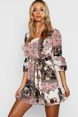 boohoo Mixed Print Button Front Tea Dress