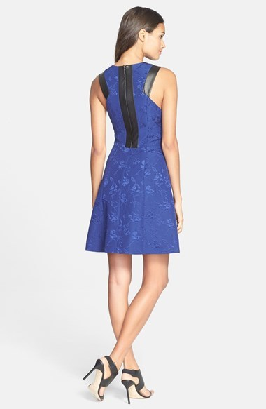Rebecca Taylor Leather Trim Quilted Fit & Flare Dress