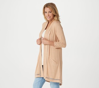 Halston H By H by Super Soft 3/4-Sleeve Open Front Cardigan with Split Back