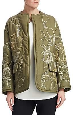 Oscar de la Renta Women's Bead Embroidered Cotton Jacket