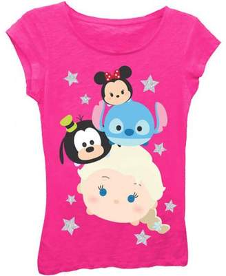 Tsum Tsum Girls' Stacked Heads Short Puff Sleeve Graphic T-Shirt With Silver Glitter