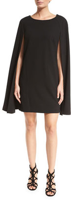 Trina Turk Crepe Cape-Back Shift Dress, Black $398 thestylecure.com
