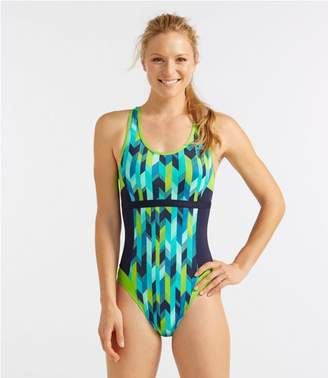 L.L. Bean L.L.Bean Active Swim Collection, Racer-Back Tanksuit Print
