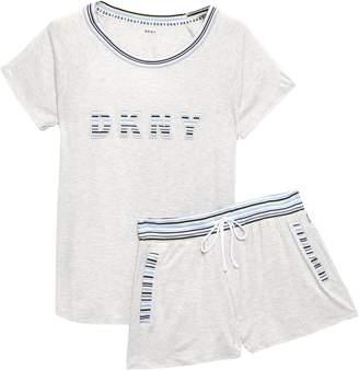 DKNY Melange Printed Stretch-jersey Pajama Set
