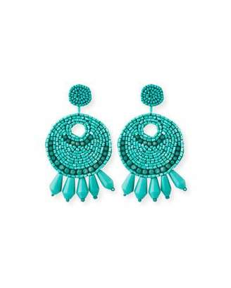 Kenneth Jay Lane Beaded Hoop Drop Clip-On Earrings, Turquoise
