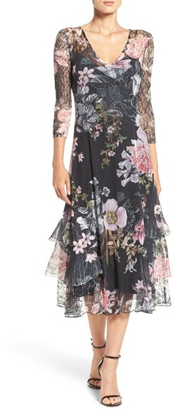 Women's Komarov Chiffon & Lace A-Line Dress