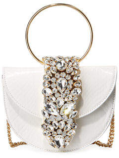 Gedebe Brigitte Mini Jeweled Snakeskin Top-Handle Bag