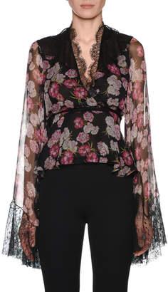 Giambattista Valli V-Neck Bell-Sleeve Floral-Print Silk Blouse w/ Wrap Belt & Lace Trim