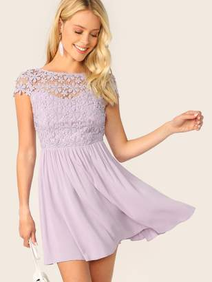 Shein Zip Backless Guipure Lace Bodice Dress
